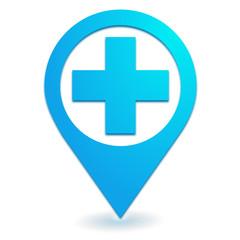 poste de secours sur symbole localisation bleu