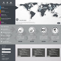 Flat web design elements, buttons, icons. Website template.