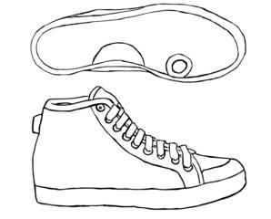 scarpa da ginnastica su sfondo bianco