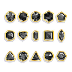 Colorful gems - black. Set realistic gemstones