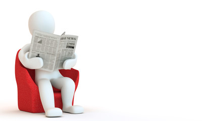 3D character reding newspaper