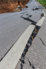 layer of broken asphalt road at rural areas