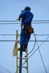 Electrician repairs lines