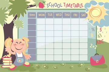 school timetable for preschool with cute girl