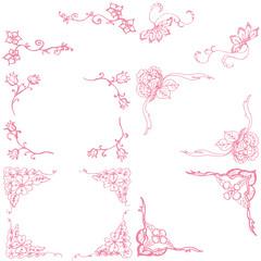 花の装飾フレーム ガーリー素材