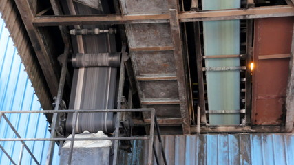 The mechanism of the conveyor belts and part of the factory