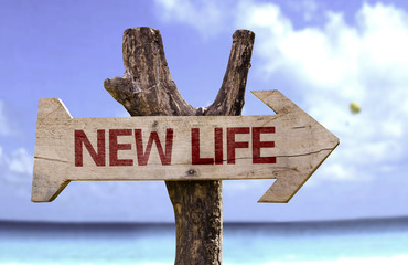 New Life wooden sign with a beach on background