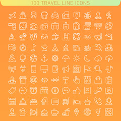 Travel Line Icons for Web and Mobile. Dark version