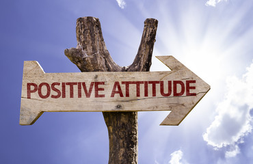 Positive Attitude wooden sign on a beautiful day