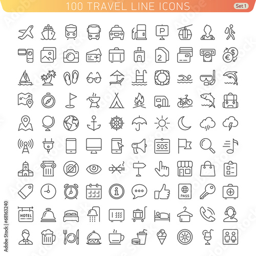 Travel Line Icons for Web and Mobile. Light version - 68163240