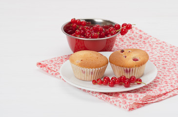 Cupcakes With Fresh Redcurrant. White Painted Table