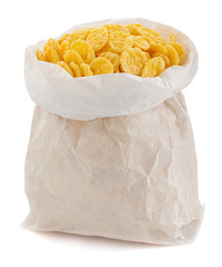 cereal corn flakes in paper bag