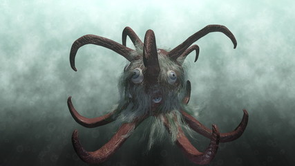 Animation of a fantasy monster underwater