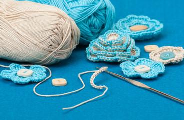 Handmade Crochet Flowers. Baby Cord, Corduroy And Wool Felt Text
