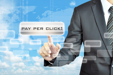 Businessman hand touching PAY PER CLICK (PPC) sign