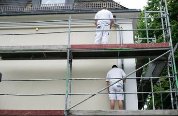 Maler an der Hauswand
