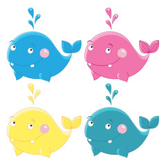 Colorful funny whales Vector character