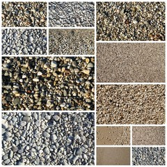 Collage of various sand and pebbles textures