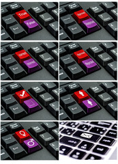 Collection of keyboard with the word  written on a button
