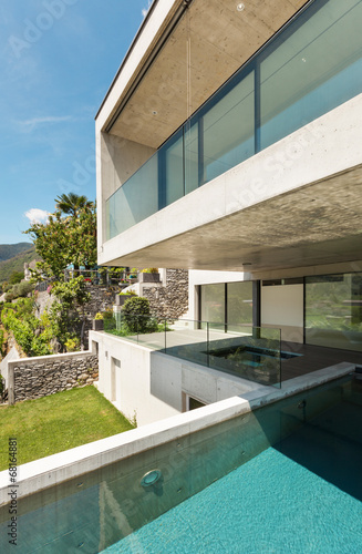 canvas print picture beautiful modern house in cement