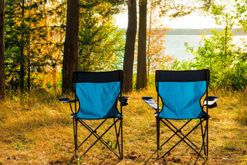 two empty chairs for Camping