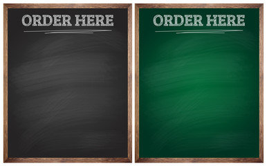 isolated order here black and green blackboards or chalkboards