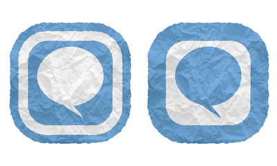 two frames with texture crumpled paper and speech bubble