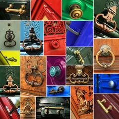 Door handles, a collage of different door handles