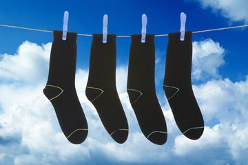 socks hanging to dry