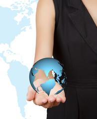 World in Hand businesswoman