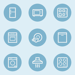 Home appliances web icons, blue buttons