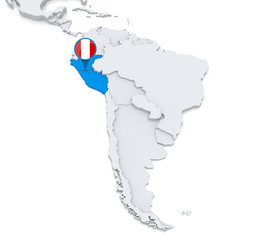 Peru on a map of South America