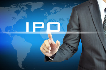 Businessman hand touching IPO (or Initial Public Offering ) sign