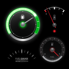 Fuel gauge speedometer vector collection