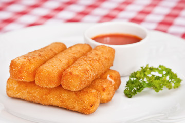 Deep-fried mozzarella cheese sticks