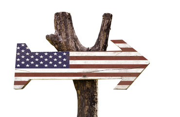 USA wooden sign isolated on white background