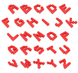 Alphabet 3d cubic red
