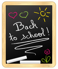 Back to school ! chalked on school slate. Vector illustration.