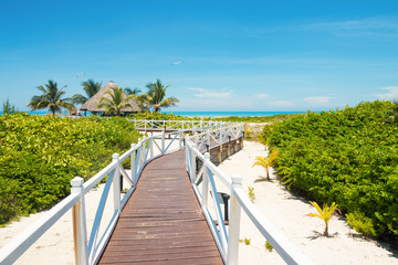 Walkway leading to a tropical beach in Cuba