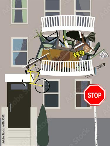 Compulsive hoarder keeps clutter on a balcony - 68169062