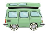 Funny cartoon retro van or small bus. Vector poster