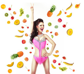 Diet Concept. Happy Woman with Mix of Juicy Fresh Fruit