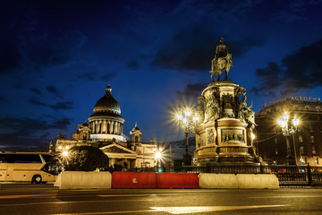 View on monument to Emperor  Nicholas and St Isaac's Cathedral a