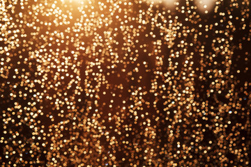 Glitter festive christmas lights background. light and gold