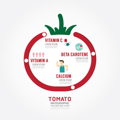 Infographic tomato health concept template design .