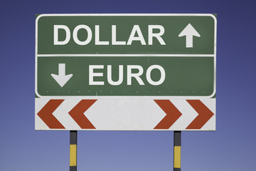 Dollar up, Euro down
