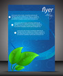 Business flyer template with green leaves, cover design