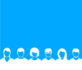 Faces Blue Background