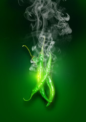 Glowing Green Super Hot Chili Peppers