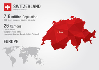 Switzerland world map with a pixel diamond texture.